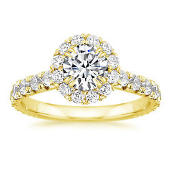 1.30 Carat Real Diamond Engagement Ring For Women 18k Yellow Gold Size 5 6 7 8 9