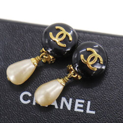 Cc Logos Circle Pearl Earrings Navy Clip-on France Vintage Auth Ac320 Y