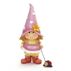 Petunia The Garden Gnome Lawn Sculpture With Ladybug On A Leash