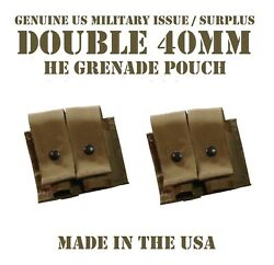 Lot Of 2 Molle 40mm Grenade Ammo Pouch Double Coyote Us Military Usmc Tactical
