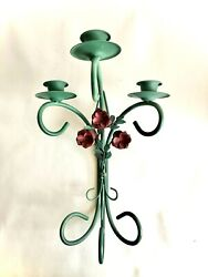 Homco Wall Candle Scone Teal Holds 3 Votives With Candles Home Interior