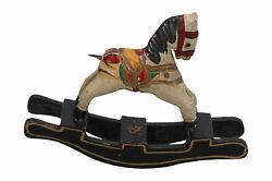 A Small Wooden Model Of A Rocking Horse Dolls House Vintage Hand Carved