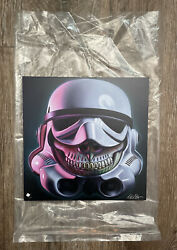 Rare 2015 Signed Ron English Stormtrooper Grin Giclee Fine Art Print On Wood
