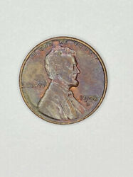 Rb 1956-d 1c Lincoln Wheat Cent Rainbow Toned Copper Eye Appeal Coin