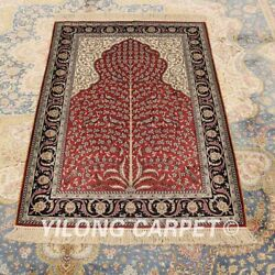 Yilong 2.7x4' Handknotted Silk Classic Carpet Vintage Indoor Red Area Rug H016a