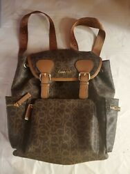 CALVIN KLEIN BACKPACK PURSE BAG POCKETS CK LUGGAGE CARRY ON brown tan $72.50
