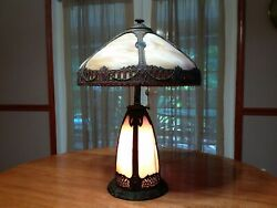 Antique Bent Panel Slag Glass Panel Table Lamp With Lighted Baseandnbsp Andnbsp Andnbsp