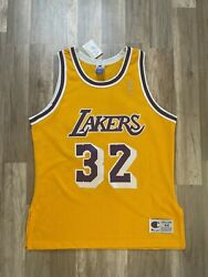 Nwts Vintage Signed Nba Lakers 32 Johnson Jersey 44 Auto Deadstock Champion