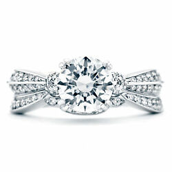 1.40 Carat Real Diamond Solitaire Engagement Rings Solid 18k White Gold All Size