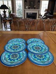 """Bobby Flay 6 Salad Dessert Plates Medallion 9"""" Outdoor Picnic Appetizers"""