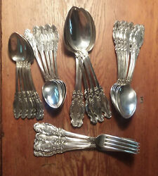 Antique 28 Pc Set Of Silver Plate...forks And Spoons...c W Bixler Circa 1880