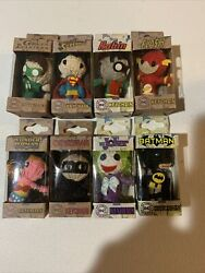 Dc Comics String Doll Keychain Lot 8 Included Batman, Joker, Robin, And More