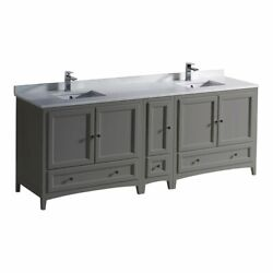 Fresca Oxford 84 Double Sinks Wood Bathroom Cabinet With Top/sinks In Gray
