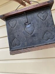 Antique Punched Heart Motif Tin And Wood Foot Warmer