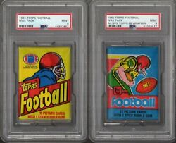 1981 Topps Football Pack Lot Of 2 Psa 9 Mint W/1979 Wrapper Variation