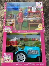 Barbie Sweet Orchard Farm Blue Tractor And Farm Stand Play Set Barbie Figure Lot
