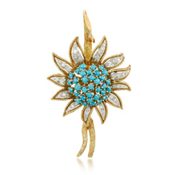 18k Yellow Gold Turquoise And Diamond Sunflower Brooch / Pin