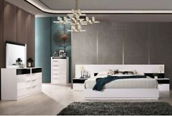 Contemporary Look White/black Bedroom Furniture Cal Eastern King/queen Size Bed