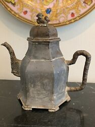 Antique Chinese Pewter Teapot With Foo Dog Finial