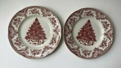Johnson Brothers Old Britain Castles Pink Christmas Dinner Plates Set Of 2 New
