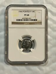 1964 Pointed 9 10c Silver Proof Roosevelt Dime Ngc Pf 68