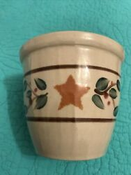 """Vintage Beaumont Brothers Pottery 4"""" Crock • W/gold Starsberries/leaves•usa"""