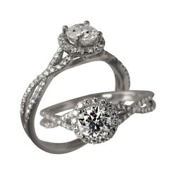 1.00 Ct Real Diamond Engagement Womenand039s Ring Fine 18k White Gold Band Size 6 7 8