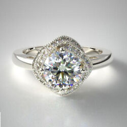 0.80 Ct Natural Diamond Engagement Ring Solid 14k White Gold Band Size 6 7 8 9