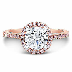 1.25 Ct Real Round Diamond Engagement Ring Solid 14k Rose Gold Band Size L M N P