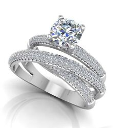 0.90 Ct Real Diamond Engagement Ring 14k Solid White Gold Band Set Size 5 6 7 8