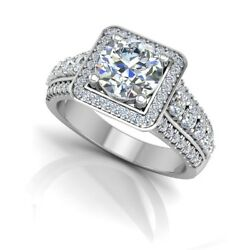 0.92 Ct Real Diamond Engagement Ring 14k Solid White Gold Band Size 5 7 8 9
