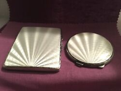 Vintage Sterling Silver White Guilloche Enamel Cigarette Case And Compact