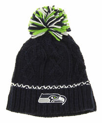 Outerstuff Nfl Youth Girls Seattle Seahawks Pom Knit Hat, One Size Fits Most