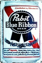 Vintage Style Metal Signs, Pabst Blue Ribbon And Other Booze Signs 12 X 8