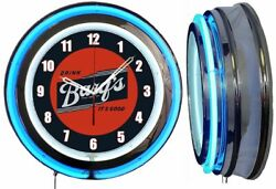 Drink Barqand039s Itand039s Good 19 Double Neon Clock Blue Man Cave Barqs Root Beer