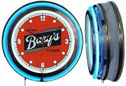 Drink Barqand039s Itand039s Good 19 Double Neon Clock Blue Man Cave Barqs Root Beer Dots