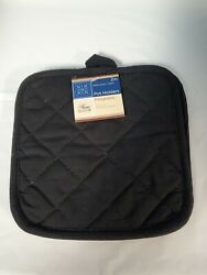 NEW Home Collection BLACK Pot Holders Set of 2 7x7 100% Cotton