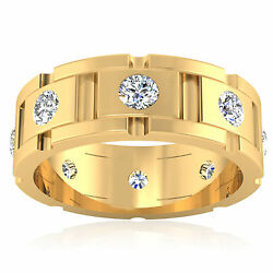 Solid 14k Yellow Gold 0.88 Ct Real Diamond Wedding Band Menand039s Ring Size 9 11 12
