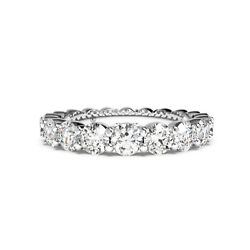 Eternity Band 2.20 Ct Real Diamond Engagement Ring 14k Solid White Gold 5 7 8 9