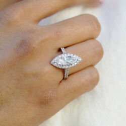 Marquise Cut 1.51 Ct Real Diamond Engagement Rings 18k White Gold Size 5 6 7 8 9
