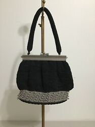 Vintage Evening Bag Black and Silver Crochet Beads Metal Clasp 50's Glamour $12.00