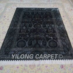 Yilong 5and039x7and039 Dark Blue Silk Rugs Hand Knotted Carpet Durable Floor Rug Ywx123a