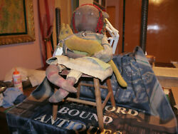 Vintage Primitive Style Large Raggedy Ann Doll And Wooden Chair