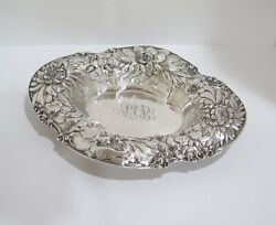 15 In Sterling Silver Gorham Antique 1904 Peony Oval Serving Bowl / Centerpiece