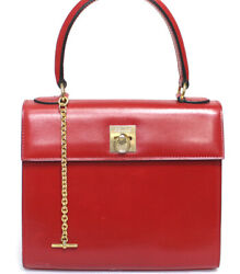 Celine Vintage Calf Leather Handbag Red 52963 Free Shipping From Japan