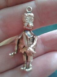 Vintage Antique 9 Ct Gold Jointed Clown Puppet On Chain 9 Ct Hallmarked Gold