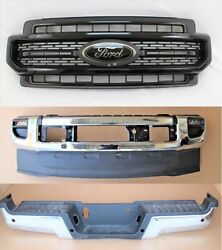 2020-21 Ford F-250 Super Duty Front Rear Bumper Cover Face Bar Chrome Grille Set