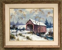 Dwight Steininger Listed Brown County Indiana Artist Covered Bridge Oil Painting