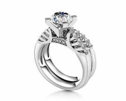 5 Ct Round Cut Simulated Diamond 14k White Gold Engagement And Wedding Rings