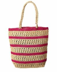 Mar Y Sol Catalina Striped Crocheted Tote Women#x27;s Pink $54.99